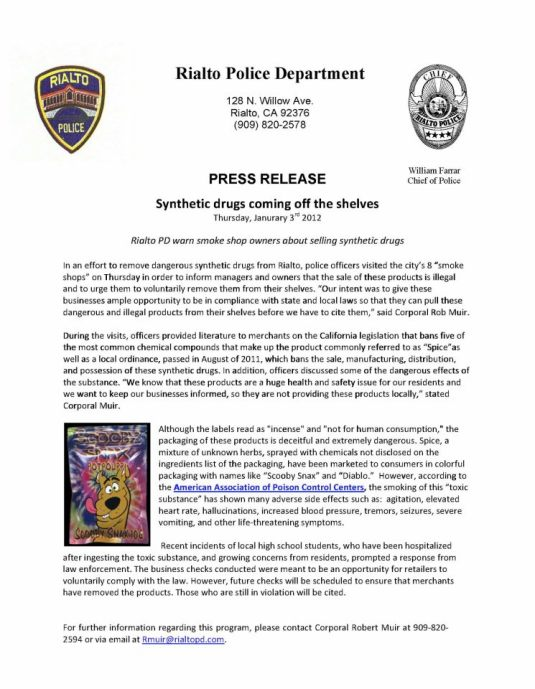 Press Release From Rialto PD on Synthetic Drug Actions