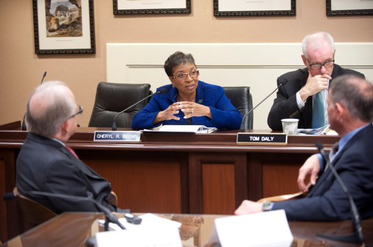 Assemblymember Cheryl R. Brown (D-San Bernardino) voices small business concerns during JEDE Committee Hearing.