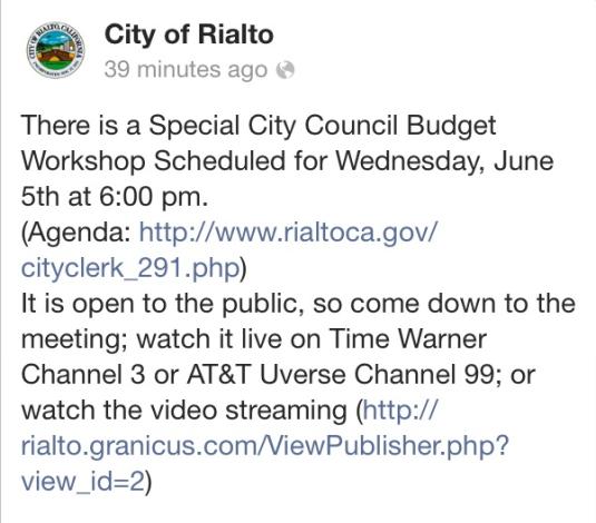 Rialto Budget Meeting