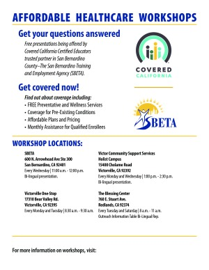 Free presentations being offered by Covered California Certified Educators trusted partner in San Bernardino County–The San Bernardino Training and Employment Agency (SBETA).