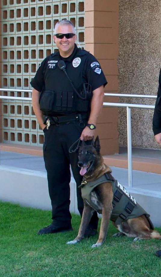 Photo that rialto Police Placed on their Facebook Page to announce the passing of K9 from Rialto PD