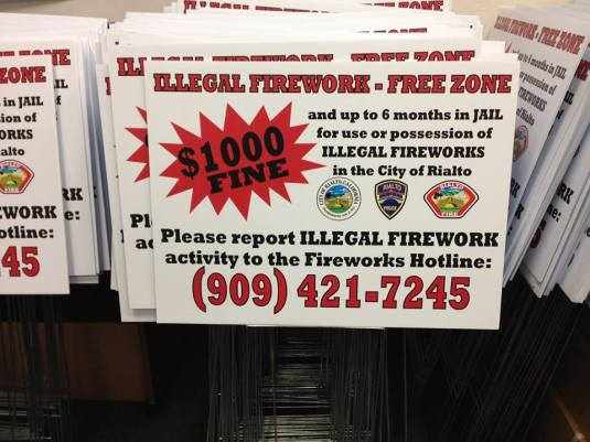 illegal fireworks sign