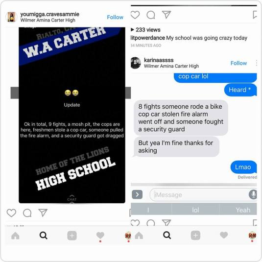 Screenshots of what Carter High Students were saying about today's events