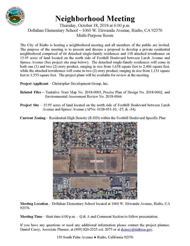 Community Meeting Scheduled For New Rialto High Density Development